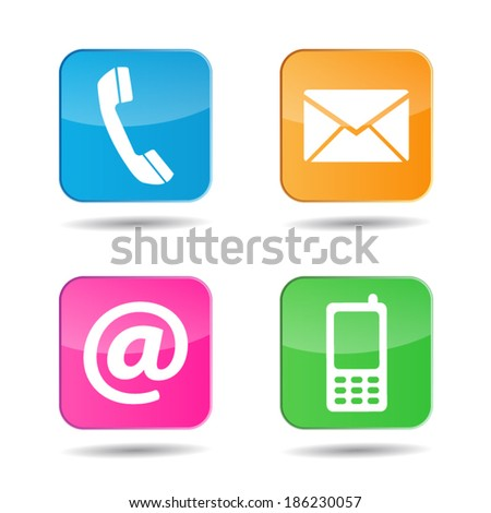 Web and Internet colorful contact us icons and design symbols with glossy effect. EPS 10 vector illustration isolated on white background.