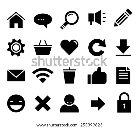 Web and website icons vector black on a white background