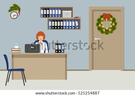 Web banner of an office worker. The young woman is an employee at work. Workplace, decorated with Christmas decoration. There is a fir tree wreath on a door. Vector illustration
