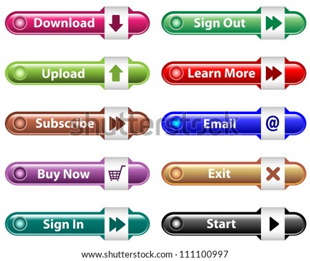 Web buttons with download, upload, subscribe, buy now, email, sign in and out icons. Isolated on white. Raster version also available.