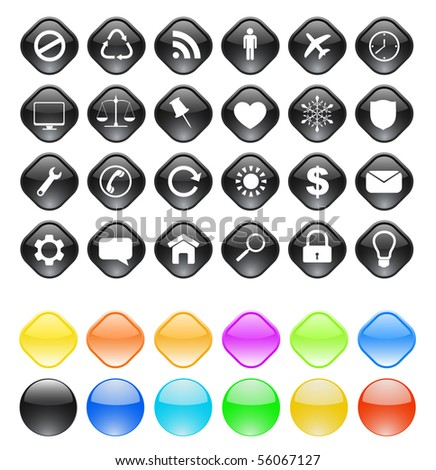 web buttons with icons - vector set