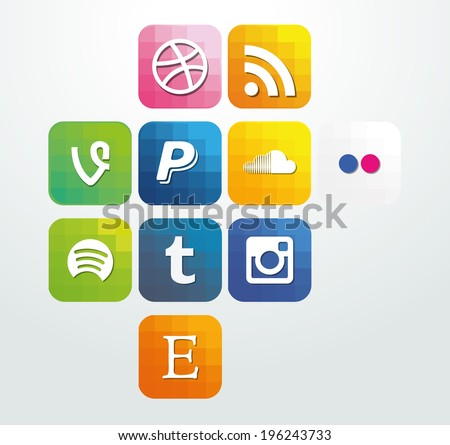 Web icon elements arrows with buttons social media