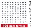 Web icons. Vector set of 100 signs for websites and applications. - stock vector