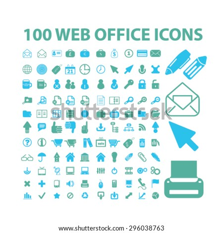 web, internet, office icons set, vector