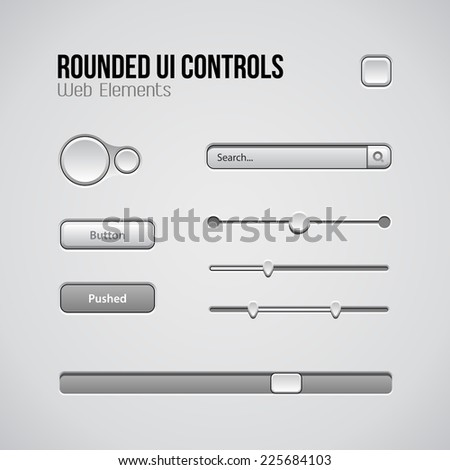 Web UI Controls Design Elements: Buttons, Switchers, On, Off, Player, Audio, Video: Play, Stop, Next, Pause, Volume, Equalizer, Knobs, Drop-down, Navigation Bar, Progress Bar, Search