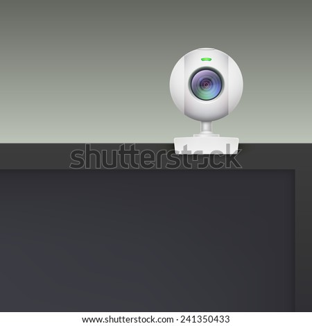Webcam of white plastic standing on the monitor, vector illustration.