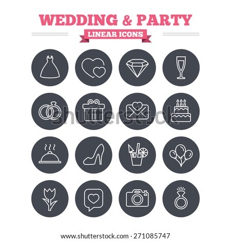 Wedding And Party Linear Icons Set Dress Diamond Rings Gift Box