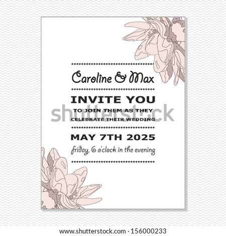 Wedding card. Vector file has few layers for easy using.