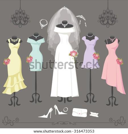 Wedding dresses on mannequinfashion bride bridesmaid stock Wedding dress vector