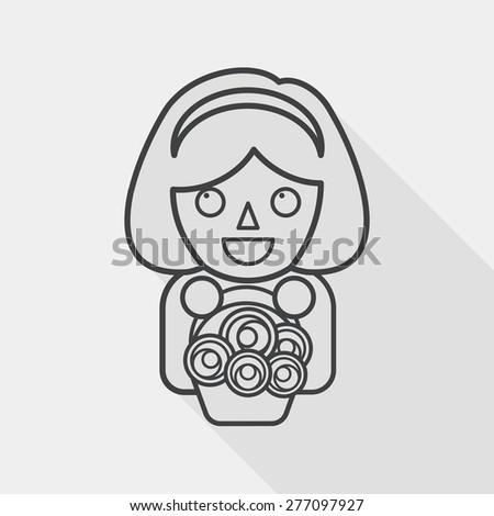 Wedding Flower Girl Flat Icon Long Stock Vector 277672799 ...