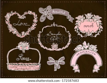 Wedding hand drawn graphic set, retro style. Eps10.