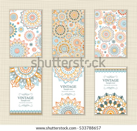 Wedding invitation card arabic style. The front and rear side. East ornament Mandala.