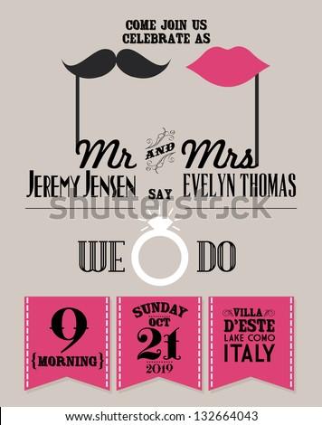 Vintage Wedding Invitation Template Vectorillustration Cameo Stock ...