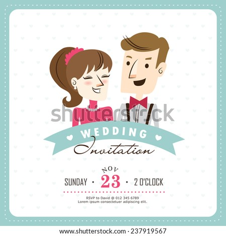 Wedding Invitation Card With Bride Groom Vector Template