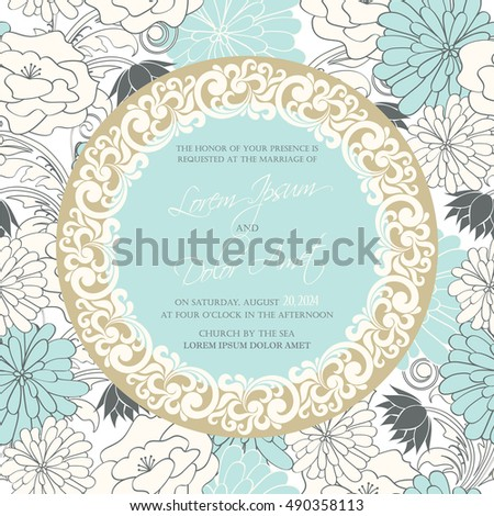 Wedding invitation card with floral background and vintage element. Also perfect as greeting card, birthday card or party invitation.