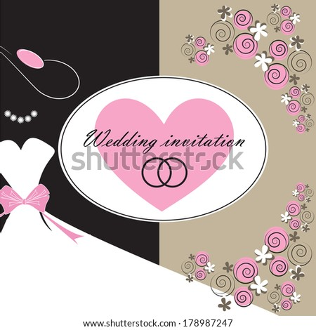 Wedding invitation card with floral elements. Part of a set.