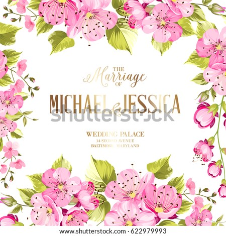 Vintage vector vertical card spring colorful stock vector wedding invitation card with spring flowers vintage wedding invitation card with template names and sakura stopboris Image collections