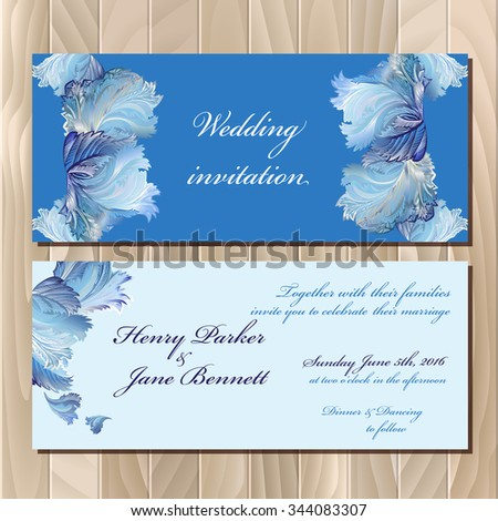 Wedding invitation card with winter frozen glass design. Printable backgrounds set. Wedding invitation design template. Blue horizontal design. Vector illustration.