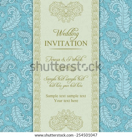 Wedding invitation in pastel east turkish style, blue and beige
