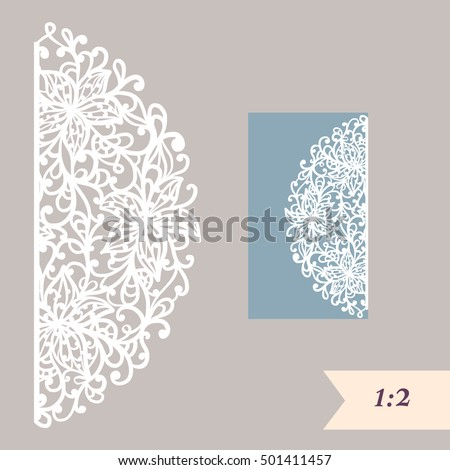 Vector Wedding Card Laser Cut Template Stock Vector 506977492