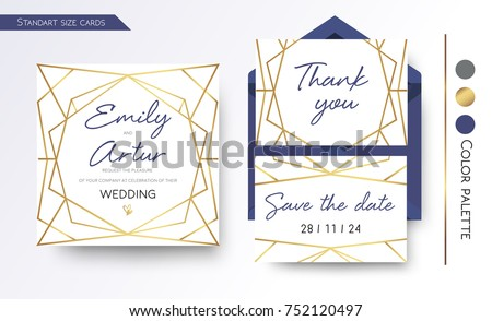 wedding invitation save the date thank you invite card design with simple geometric