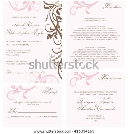 Wedding Invitation set with floral ornaments
