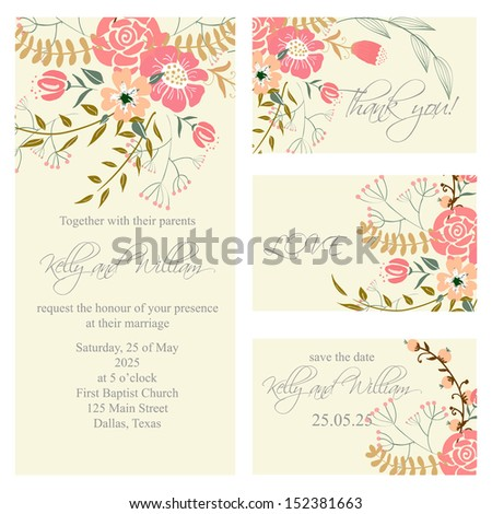 Wedding invitation, thank you card, save the date cards. Wedding set. RSVP card