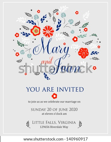 Wedding invitation with abstract floral background.