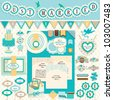 Wedding`s Day scrapbook elements. Vector illustration. - stock vector