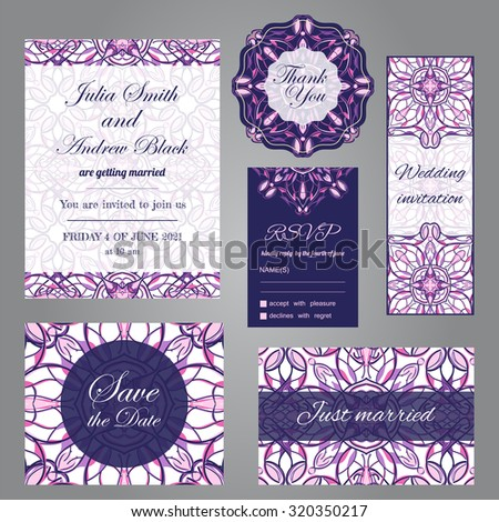 Wedding set in vintage ornamental style. Invitation, save the date, thank you, rsvp, just married cards. Vector templates