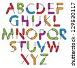 Weird constructor font, vector alphabet letters, color version. - stock vector