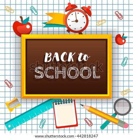 Welcome back school typographical background on stock vector welcome back to school typographical background with school icon elements template for school invitation stopboris Images