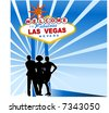 welcome to las vegas sign with three friends in front - stock vector