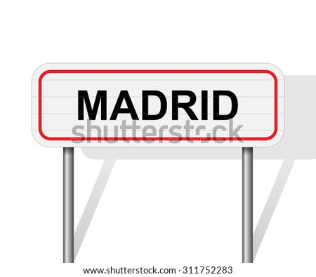 Welcome to Madrid Spain road sign vector
