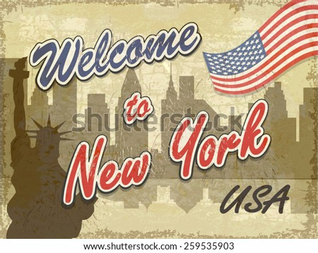 Welcome to New York retro background.