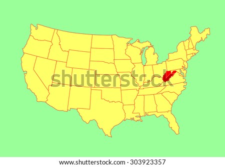 West Virginia Vector Map Isolated On Stock Vector - West virginia on us map