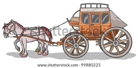 Western Stagecoach Horses Outline Drawing Stock