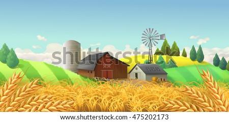 Farm Landscape. Vector Background