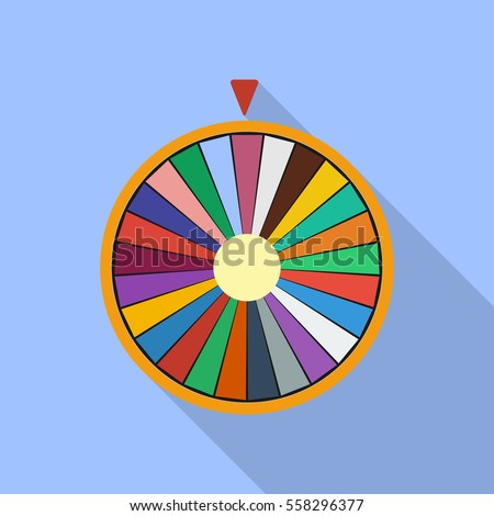 Wheel of Fortune luck flat icon. vector