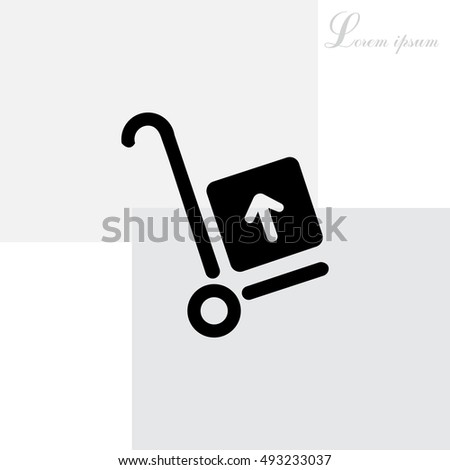 wheelbarrow for transportation of cargo, web icon. vector design