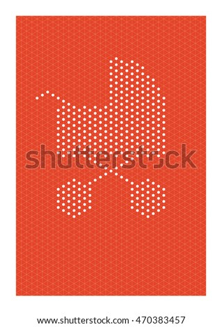 White abstract baby pram formed by dots fitted in an isometric grid with red colored background. Color can be changed.