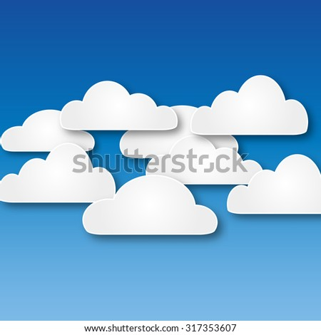 White abstract paper clouds at blue background vector illustration