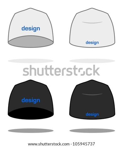 White BEANIE design template (sample logos are easy to change to your own). VECTOR, painted with love to details. More clothing designs in my portfolio!