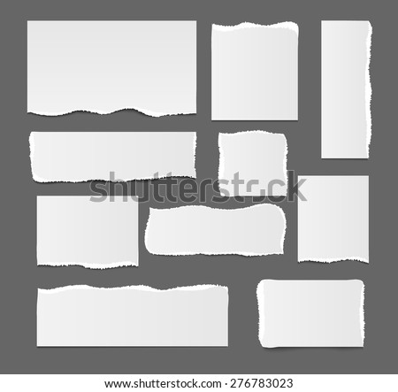 White blank ripped paper template isolated, vector illustration. Square, rectangular design paper elements, vector illustration. Torn paper with tears, bends. Template for your text