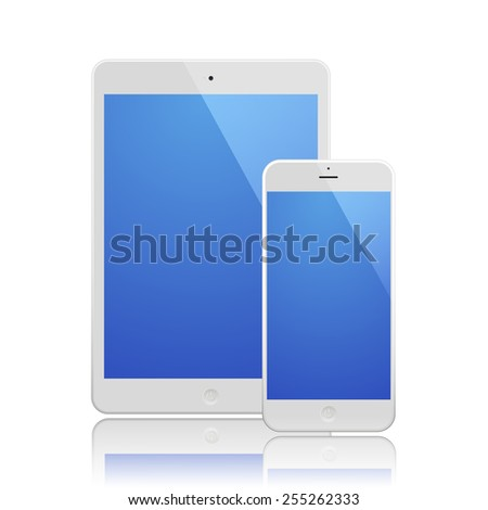 White Business Phone and White tablet with blue screen and reflection. Illustration Similar To iPhone, iPad.