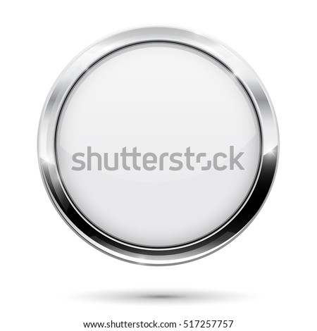 White button. Round web icon with metal chrome frame. Vector illustration isolated on white background