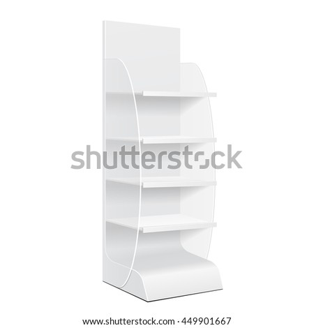White Cardboard Floor Display Rack For Supermarket Blank Empty Displays With Shelves Products Mock Up. Illustration Isolated On White Background. Ready For Your Design. Product Packing. Vector EPS10