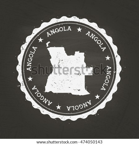 White chalk texture rubber stamp with People's Republic of Angola map on a school blackboard. Grunge rubber stamp with People's Republic of Angola map outline, vector illustration.