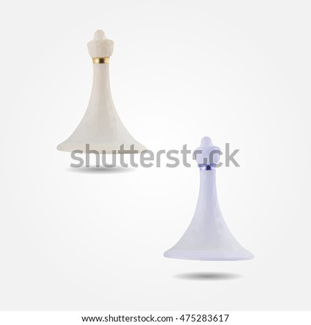 White chess figure pawn high resolution flat triangle polygon vector eps10