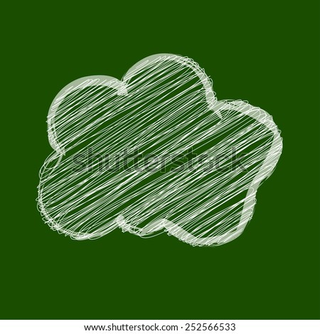 White Cloud scribble in the center on a chalkboard green background